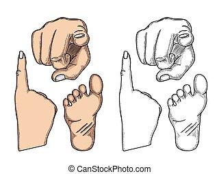 Hand showing a fig sign. Vector color vintage engraved...