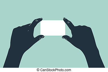 hand showing blank ID card