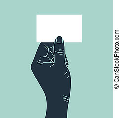 hand showing business card