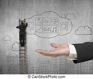 Hand showing businessman drawing cloud app icons doodles