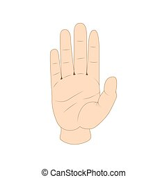 Hand showing five fingers icon, cartoon style