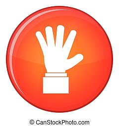 Hand showing five fingers icon, flat style