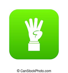 Hand showing number four icon digital green