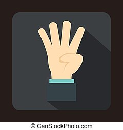 Hand showing number four icon, flat style