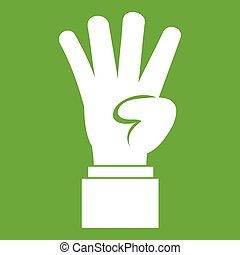 Hand showing number four icon green
