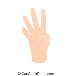 Hand showing number four icon, isometric 3d style