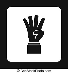 Hand showing number four icon, simple style