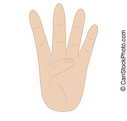 hand, showing number four