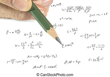 Hand showing physics formula on paper