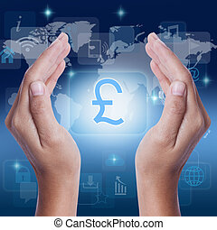 Hand showing Pound symbol on screen. business concept