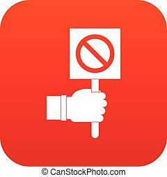 Hand showing stop signboard icon digital red