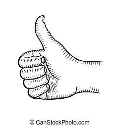 Hand showing symbol Like.