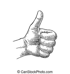 Hand showing symbol Like. Making thumb up gesture. Vector black vintage engraved illustration isolated on a white background. Hand sign for web, poster, info graphic.