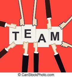 Hand showing team text, teamwork concept vectori illustration