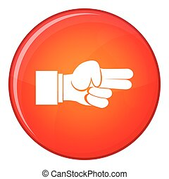 Hand showing two fingers icon, flat style