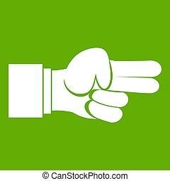 Hand showing two fingers icon green