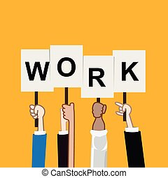 Hand showing work text teamwork concept vectori illustration