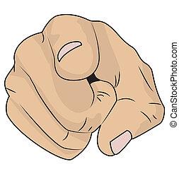 hand shows an index finger, vector illustration