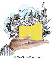 hand shows folder of dream travel