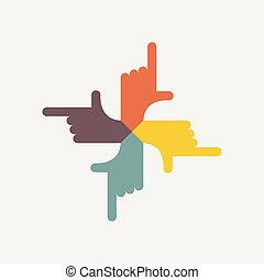 hand shows on four sides. Vector logo. Design template