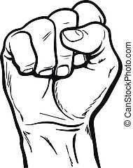 Hand shows the fist as a symbol of power - Clenched fist....