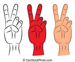 hand, -, sieg zeichen