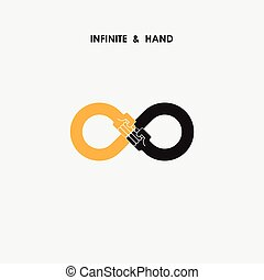 Hand sign and infinite logo elements design
