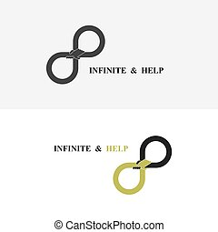 Hand sign and infinite logo elements design.Infinity sign.The best idea sign.Good idea logo.Vector illustration