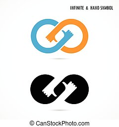 Hand sign and infinite logo elements design.