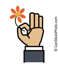 Hand sign design over white background, vector illustration