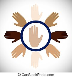 Hand sign design over white background, vector illustration