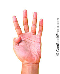 Hand sign for the number four or 4 symbol
