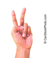 Hand sign for the number two or 2 symbol