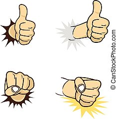 hand sign gesture cartoon theme vector art