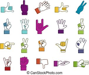 Hand sign icon set, color outline style