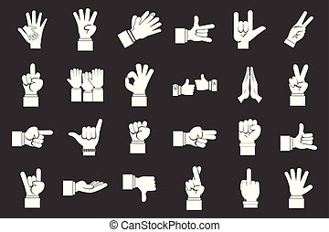 Hand sign icon set grey vector