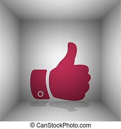 Hand sign illustration. Bordo icon with shadow in the room.