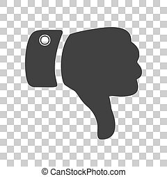Hand sign illustration. Dark gray icon on transparent...