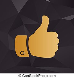 Hand sign illustration. Golden style on background with polygons.