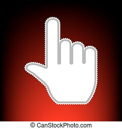 Hand sign illustration. Postage stamp or old photo style on red-black gradient background.