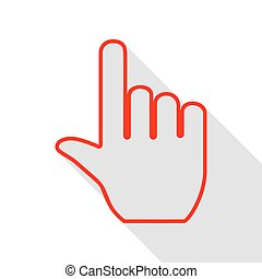 Hand sign illustration. Red icon with flat style shadow path.