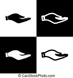 Hand sign illustration. Vector. Black and white icons and line icon on chess board.