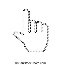 Hand sign illustration. Vector. Black dashed icon on white background. Isolated.