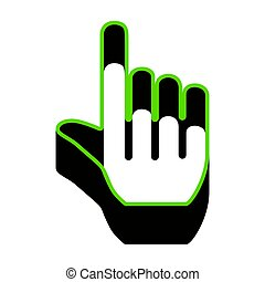 Hand sign illustration. Vector. Green 3d icon with black side on