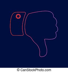 Hand sign illustration. Vector. Line icon with gradient from red to violet colors on dark blue background.