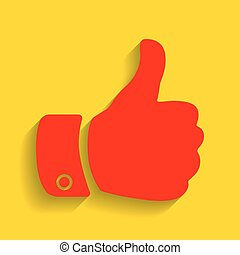 Hand sign illustration. Vector. Red icon with soft shadow on golden background.