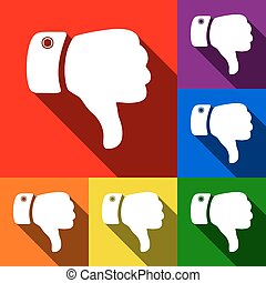 Hand sign illustration. Vector. Set of icons with flat shadows at red, orange, yellow, green, blue and violet background.