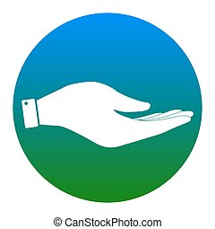 Hand sign illustration. Vector. White icon in bluish circle on white background. Isolated.