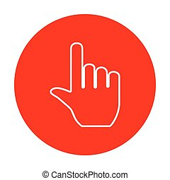 Hand sign illustration. White icon on red circle.