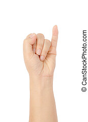 Image of hand sign isolate on white background